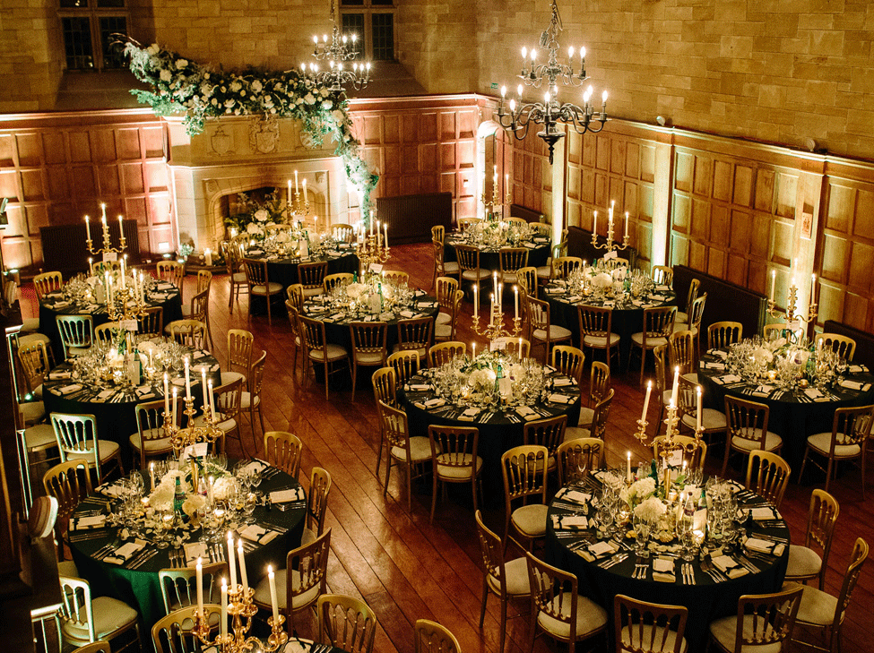 Green Essential table linen paired with Gold Candelabras. Image courtesy of Barker and Evans Photography