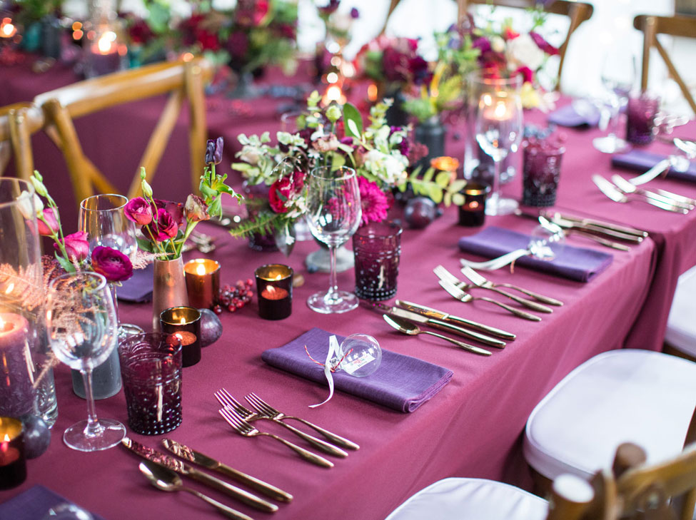 Wine Essential table linen and Blackcurrant Gelato napkins. Image courtesy of Always Andri Weddings and Cecelina Photography
