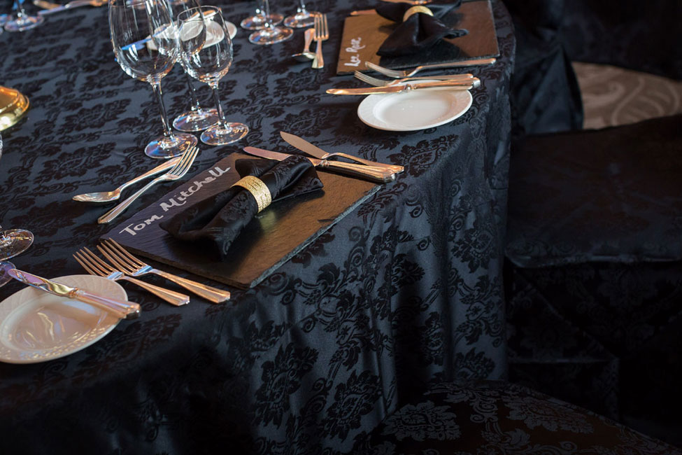 Noir Vintage Damask table linen and bowtie napkin with gold napkin ring