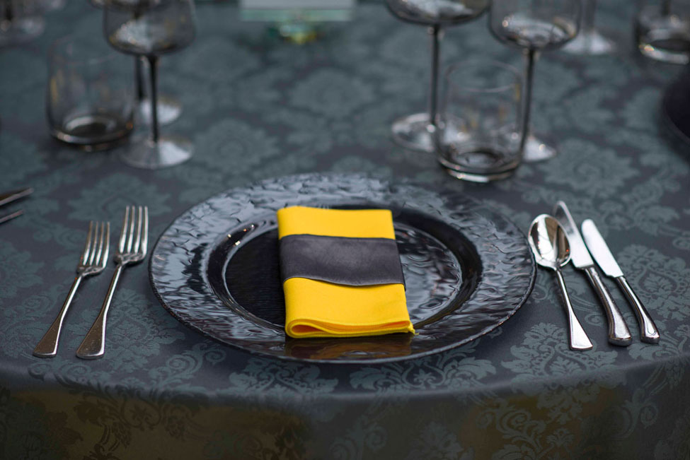 Slate Grey Vintage Damask table linen and Yellow Essential napkin with Super Silver Taffeta band
