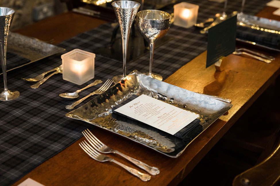 Arran Tartan runner, Arran Tartan napkin paired with Pewter charger plate and Pewter Goblets, Image courtesy of First Light Photography