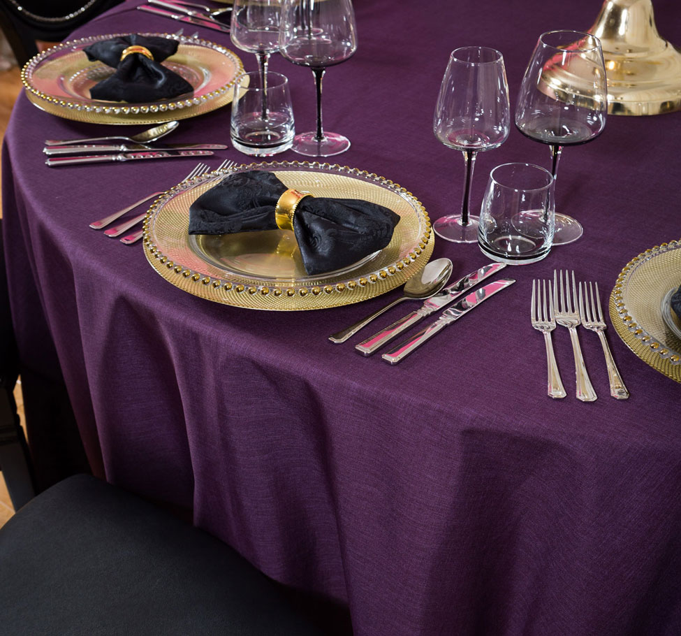 Blackcurrant Gelato table linen, Smoke Glasses, Gold Beaded charger plate and Noir Vintage Damask bowtie with gold napkin ring