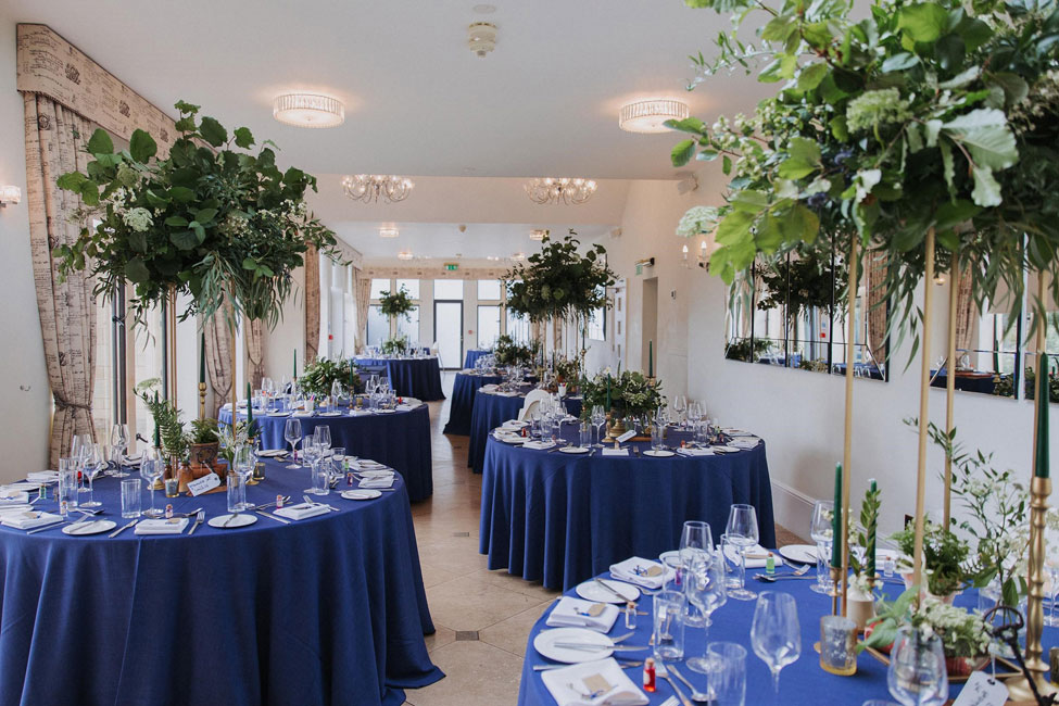 Denim Gelato table linen at Old Down Estate, Styling and Image courtesy of The Wedding Helper UK