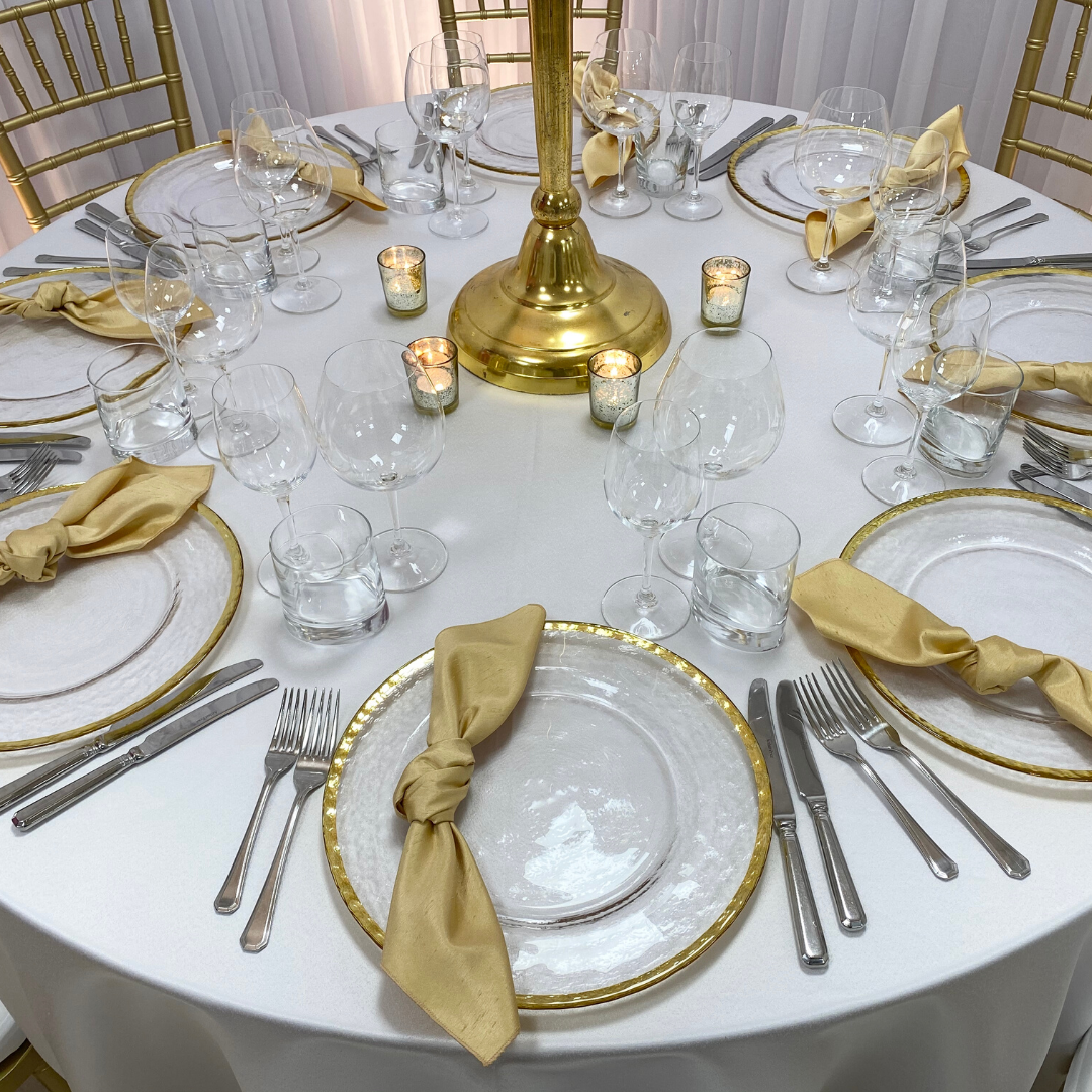 Champagne Faux Silk napkin and Gold Trim charger
