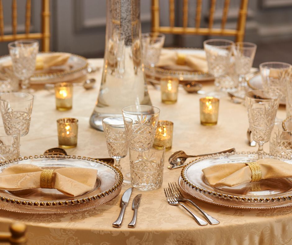 Gold Beaded charger plates with Cut Crystal glasses