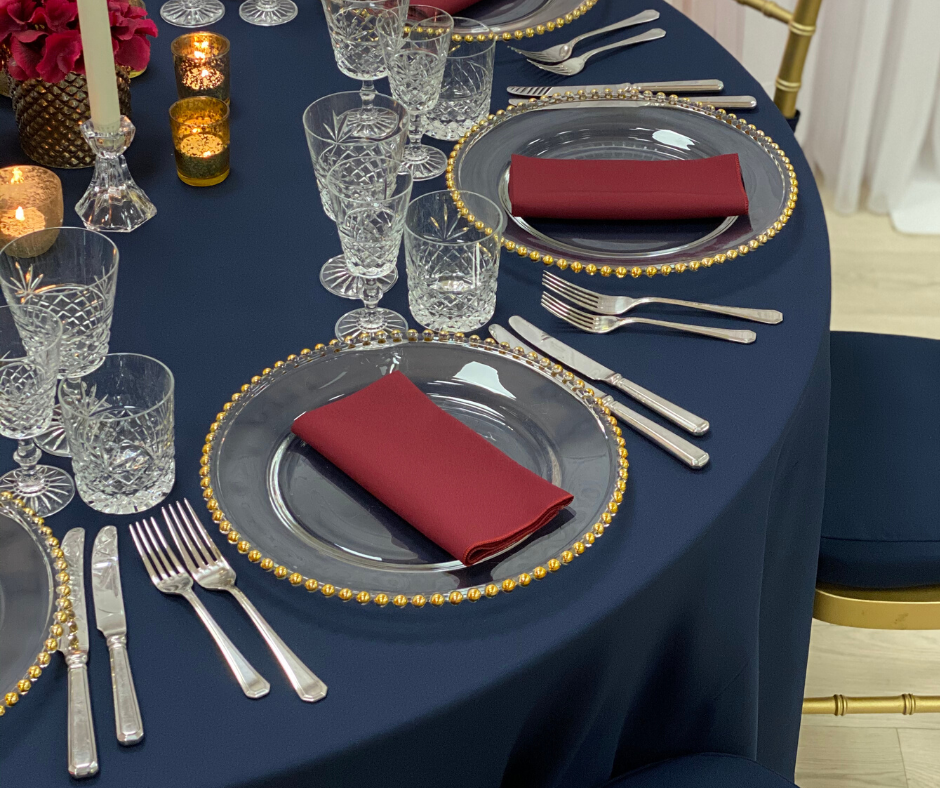 Wine Essential napkin, Gold beaded charger plate and Cut Crystal glasses